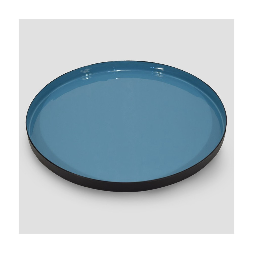 Round Enameled Tray - Blue/Black - Project 62
