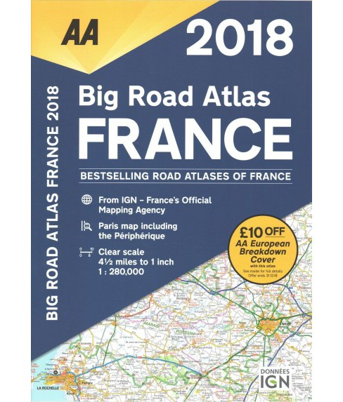 AA Big Road Atlas France 2018 -  (Paperback) - image 1 of 1