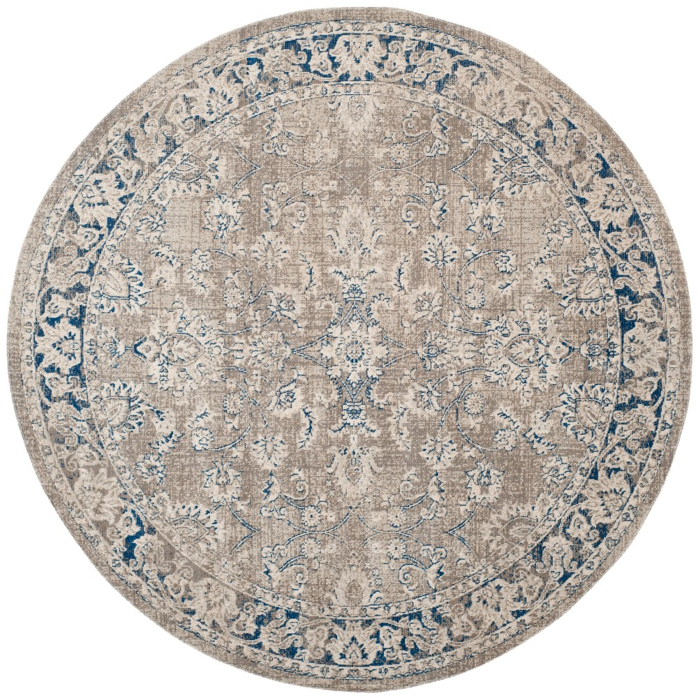 6'7 Floral Loomed Round Area Rug Taupe/Blue (Brown/Blue) - Safavieh