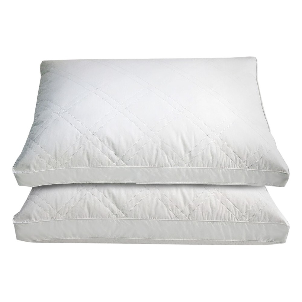 Image of Cotton Quilted White Goose Feather and Down Pillow 2pk White - Blue Ridge Home Fashions