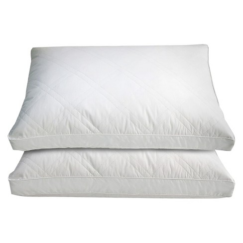 Cotton Quilted White Goose Feather And Down Pillow 2pk White Blue