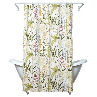 Huntington Botanical Shower Curtain Green/Yellow - India Ink