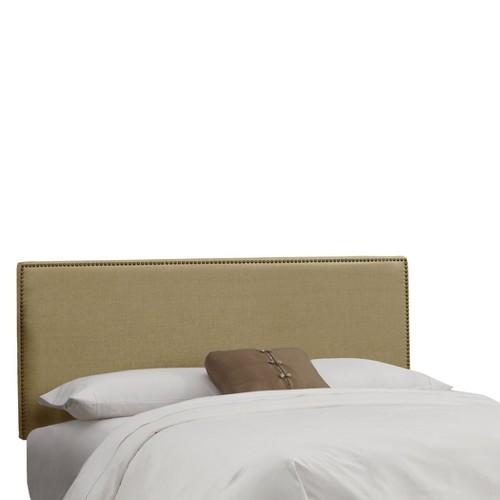 King Bella Nail Button Border Headboard Tan Linen with Brass Nailbuttons - Cloth & Co.
