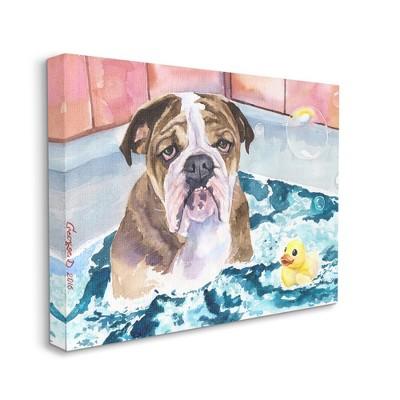 Stupell Industries English Bulldog In Bathtub Rubber Duck Bubbles