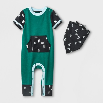 Baby Boys' 2pc Kangaroo Pocket Romper and Bib Set - Cat & Jack™ Green Newborn