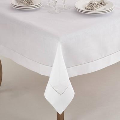 "60""x60"" Square Tablecloth with Hemstitch Border Design White - Saro Lifestyle"