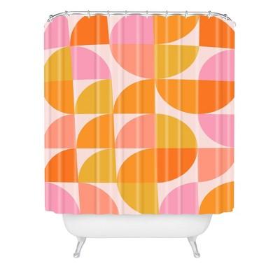 June Journal Mid Century Modern Geometry Shower Curtain Orange - Deny Designs