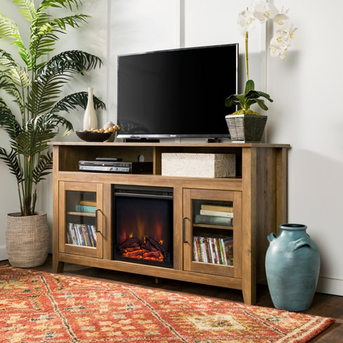 Wondrous 58 Wood Highboy Fireplace Tv Stand Rustic Oak Saracina Home Download Free Architecture Designs Estepponolmadebymaigaardcom
