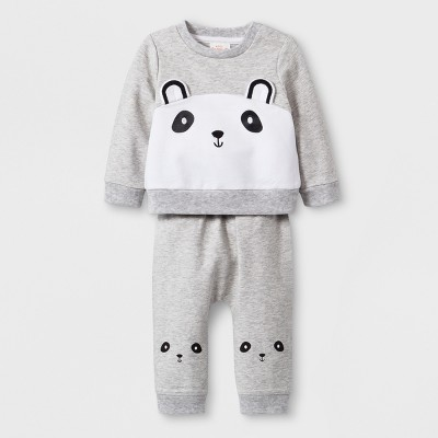 Baby Girls' 2pc French Terry Critter Long Sleeve T-Shirt and Leggings Set - Cat & Jack™ Gray 3-6M
