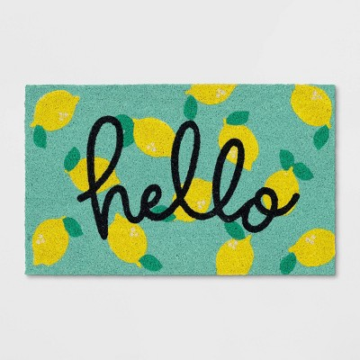 "1'6""x2'6"" Hello Lemon Coir Doormat Yellow - Sun Squad™"