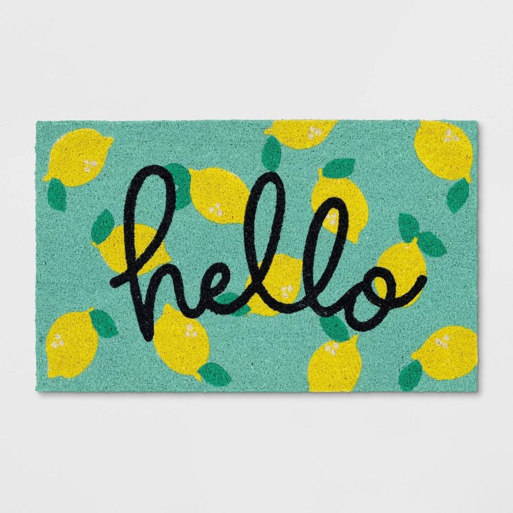 Hello Lemon Coir Doormat Yellow