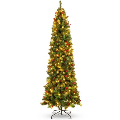 Best Choice Products Pre-Lit Pencil Christmas Tree Pre-Decorated Holiday Accent w/ Base