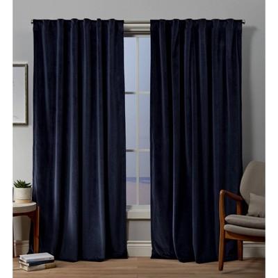 Velvet Back Tab Light Filtering Window Curtain Panels - Exclusive Home