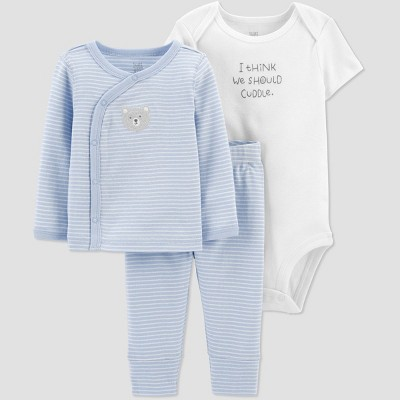 Baby Boys' 3pc Top and Bottom Set with Cardigan - Just One You® made by carter's Blue 3M