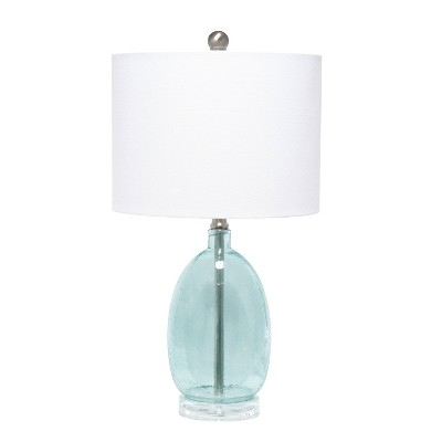 Glass Table Lamp with White Drum Shade Blue - Lalia Home
