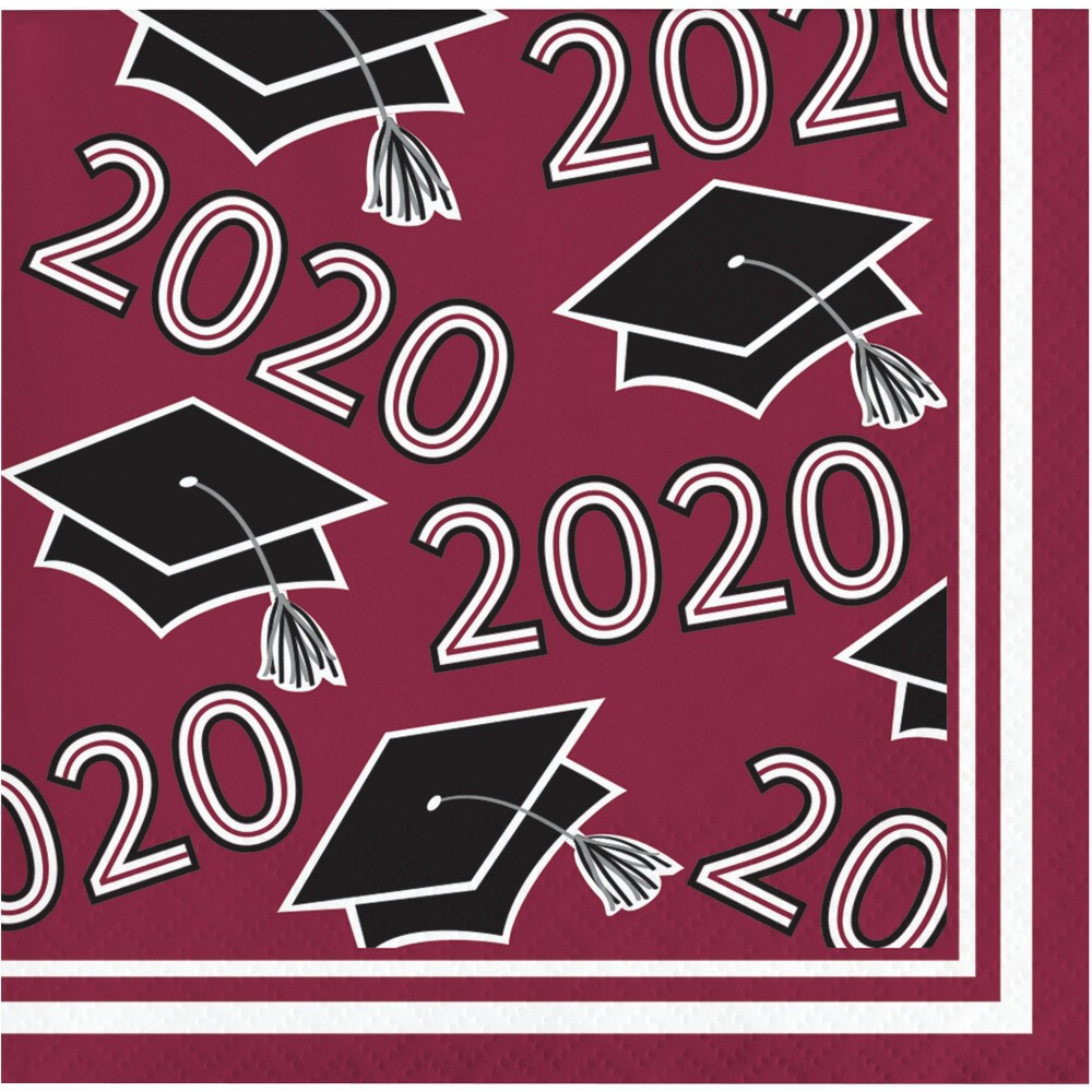 Image of 108ct Class Of 2020 Grad Beverage Napkins Burgundy