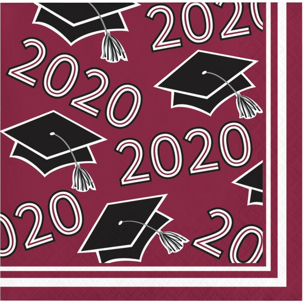 Image of 108ct Class Of 2020 Grad Beverage Napkins Burgundy