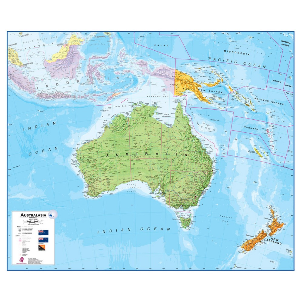 Image of Maps International Australasia 1:7 Wall Map, Aquarium Blue