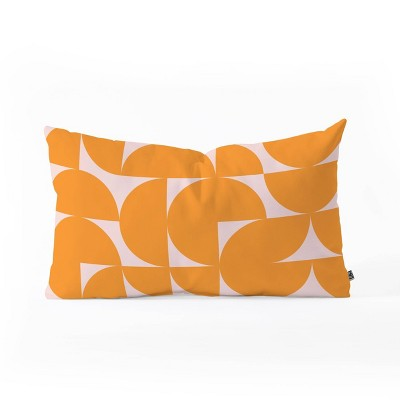 June Journal Mid Century Modern Geometrics Throw Pillow Orange - Deny Designs