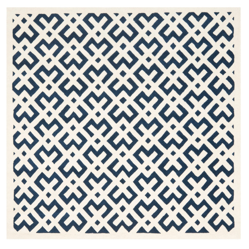 Dark Blue/Ivory Geometric Tufted Square Area Rug 7'X7' - Safavieh