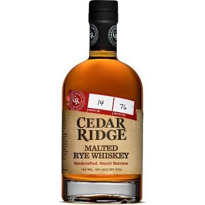 Cedar Ridge Malted Rye Whiskey - 750ml Bottle