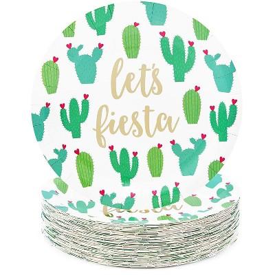"Sparkle and Bash 48Pcs Let's Fiesta Cactus Disposable Paper Plates 9"" for Cinco De Mayo Party"