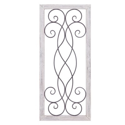 21 x48  Rustic White Washed Wood and Metal Decorative Scroll Wall Decor White - Patton Wall Decor