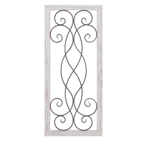 21 X48 Rustic White Washed Wood And Metal Decorative Scroll Wall Decor Patton