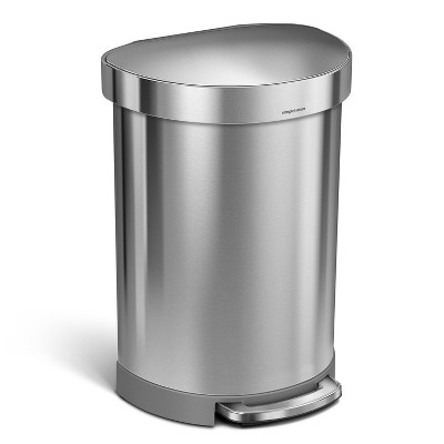 simplehuman 60L Liner Rim Semi-Round Step Trash Can Brushed Stainless Steel