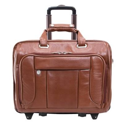 "McKlein 15"" West Town Pebble Grain Calfskin Leather Detachable Wheeled Laptop Bag - Brown"