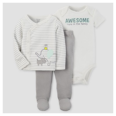 Baby 3pc Animals Side Snap T-Shirt - Just One You™ Made by Carter's® Gray 6M