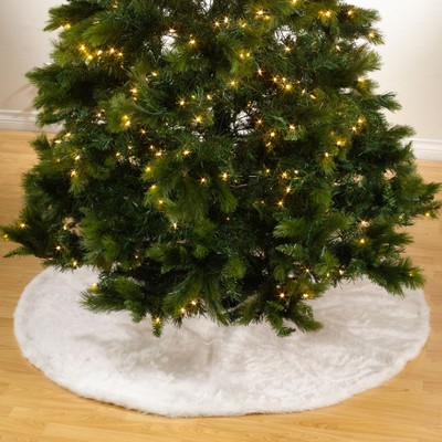 Saro Lifestyle Solid Faux Fur Design Christmas Tree Skirt