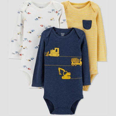 Baby Boys' 3pk Construction Bodysuit - Just One You® made by carter's Navy Newborn