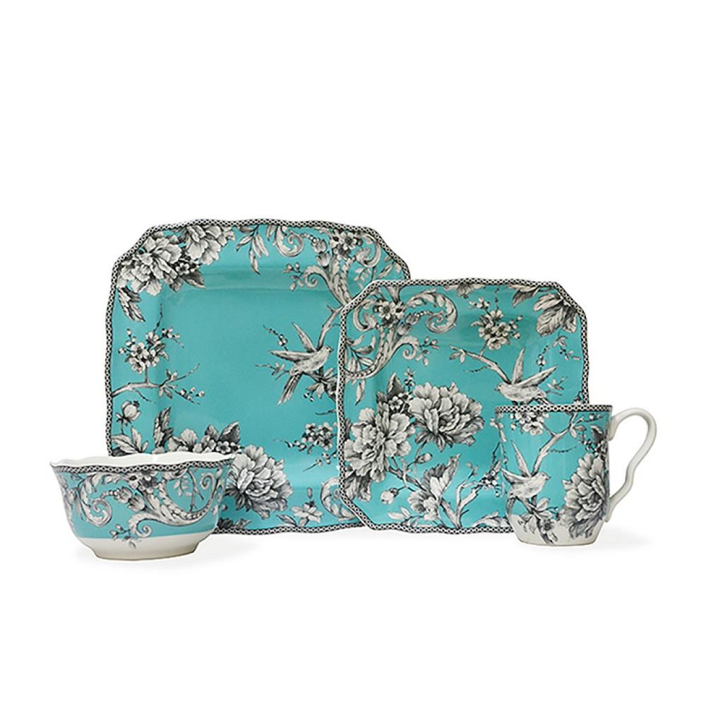 Image of 16pc Porcelain Adelaide Dinnerware Set Blue - 222 Fifth