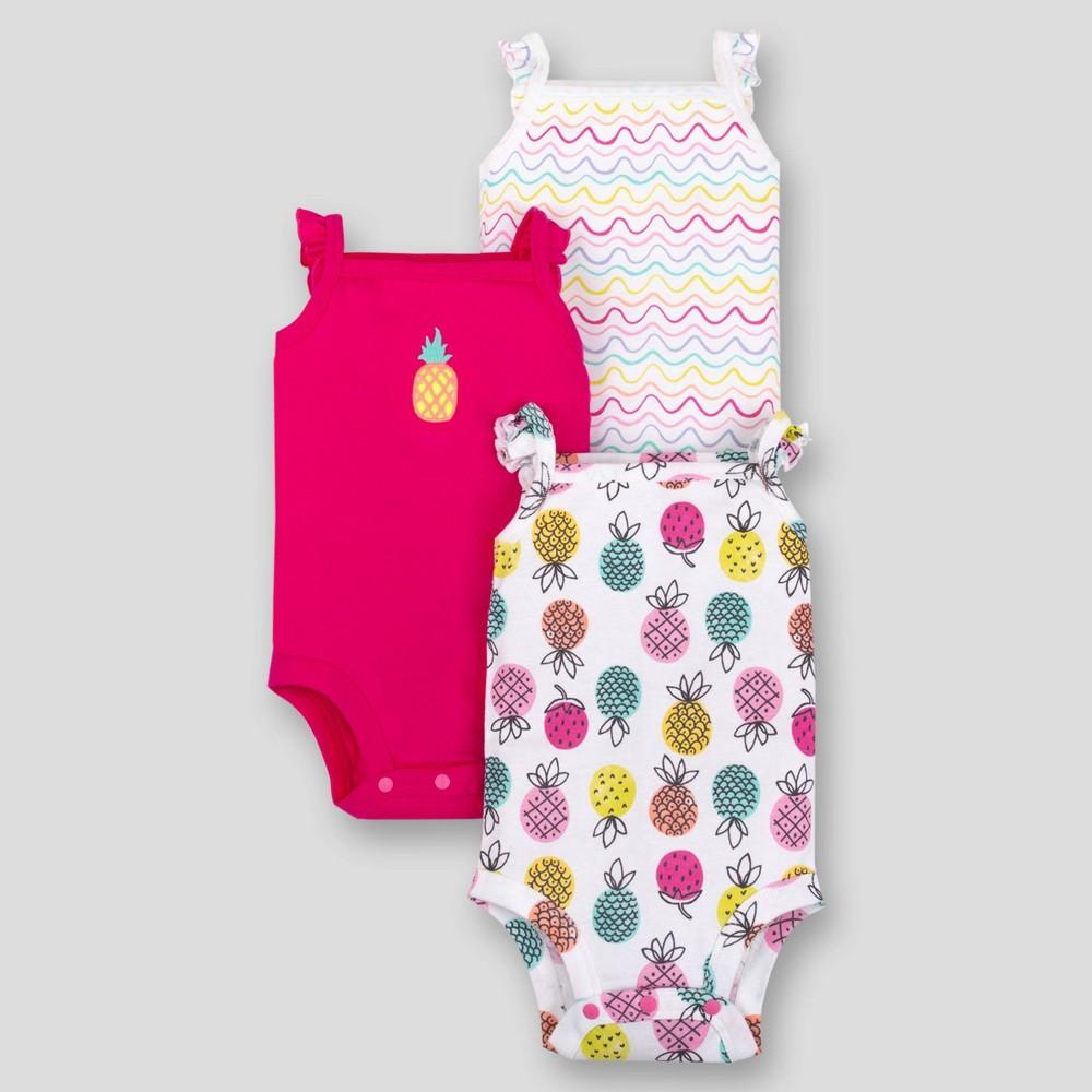 Lamaze Baby Girls' 3pk Pineapple Sleeveless Organic Cotton Bodysuit - Pink/White/Yellow 12M