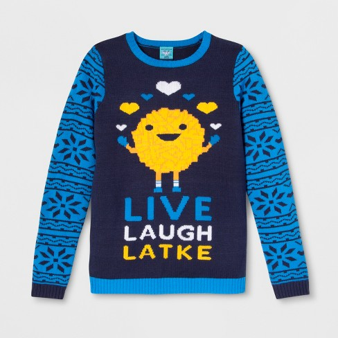 Adult Live Laugh Latke Hanukkah Ugly Sweater Norther Pole Juniors