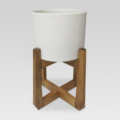 Wood & Stoneware Indoor Planter Small - White - Project 62™