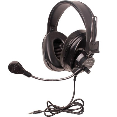 Califone 3066BKT Deluxe Over-Ear Stereo Headset with Gooseneck Microphone, 3.5mm Plug, Black, Each