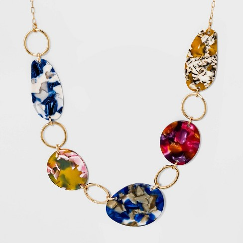 Five Acetate Discs Short Necklace - A New Day™ Gold - image 1 of 3