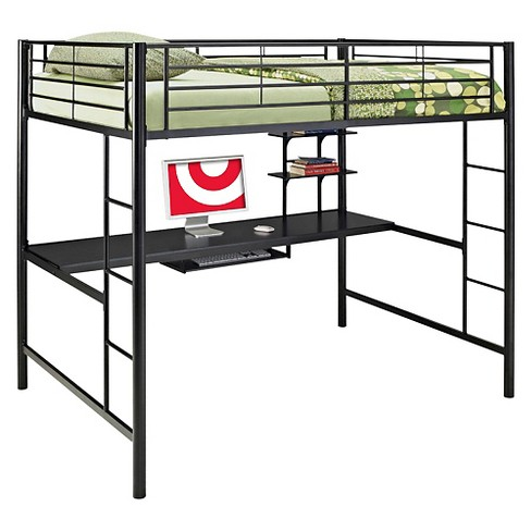 Premium Metal Full Size Loft Bed with Wood Workstation - Black - Saracina  Home