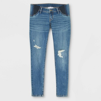 Low-Rise Side Panel Distressed Skinny Maternity Jeans - Isabel Maternity by Ingrid & Isabel™ Medium Blue
