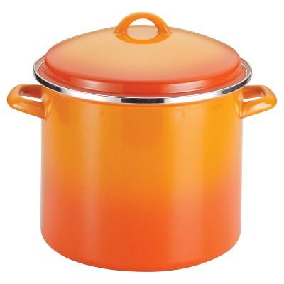 Rachael Ray Porcelain Enamel 12 Quart Covered Stock Pot - Orange Gradient
