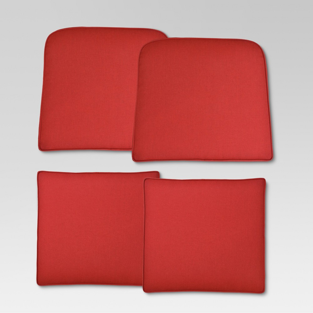 Halsted 4pc Outdoor Small Space Cushion Set - Red - Threshold