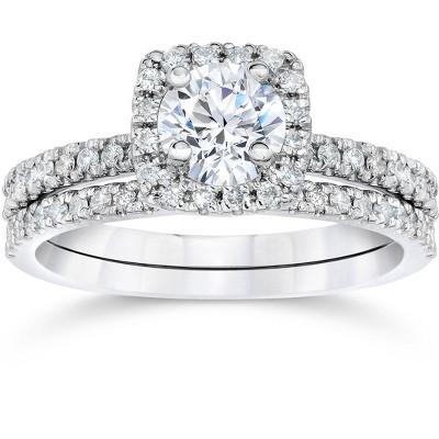 Pompeii3 1 ct Diamond Cushion Halo Engagement Wedding Ring Set 14k White Gold