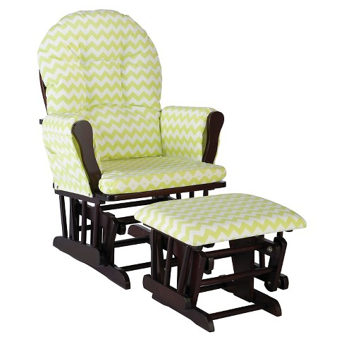 Stork Craft Hoop Espresso Glider and Ottoman - Citron Green Chevron - image 1 of 1