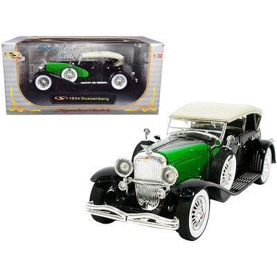 1934 Duesenberg Black and Green 1/32 Diecast Model Car by Signature Models