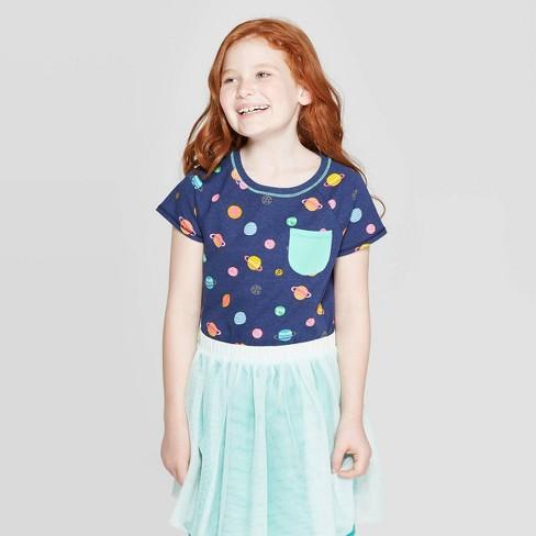 Girls' Short Sleeve Space Print Pocket T-Shirt - Cat & Jack™ Navy - image 1 of 3