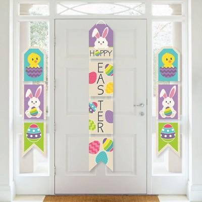 Big Dot of Happiness Hippity Hoppity - Hanging Vertical Paper Door Banners - Easter Bunny Party Wall Decoration Kit - Indoor Door Decor