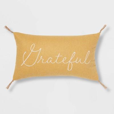Tweed Embroidered 'Grateful' Lumbar Throw Pillow Gold - Threshold™