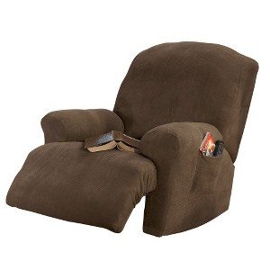 Taupe Stretch Pique Recliner Slip Recliner - Sure Fit, Brown